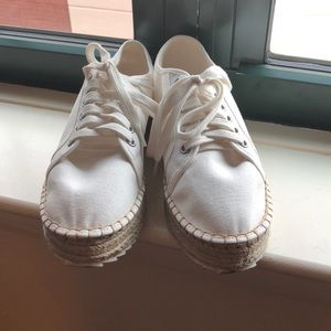 White espadrille platform sneakers. Worn once!!